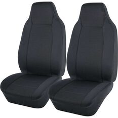 Jacquard Seat Covers - Charcoal, Built-in Headrests, , scaau_hi-res