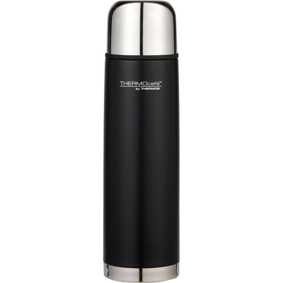 Thermos Thermocafe 1L Slimline Flask - Black, Stainless Steel, , scaau_hi-res