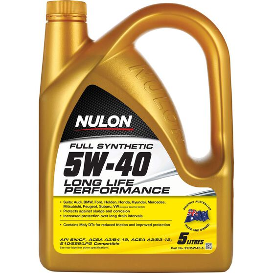 Nulon Full Synthetic Long Life Engine Oil - 5W-40 5 Litre, , scaau_hi-res