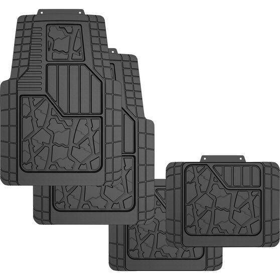 Ridge Ryder Car Floor Mats - Rubber, Black, Set of 4, , scaau_hi-res