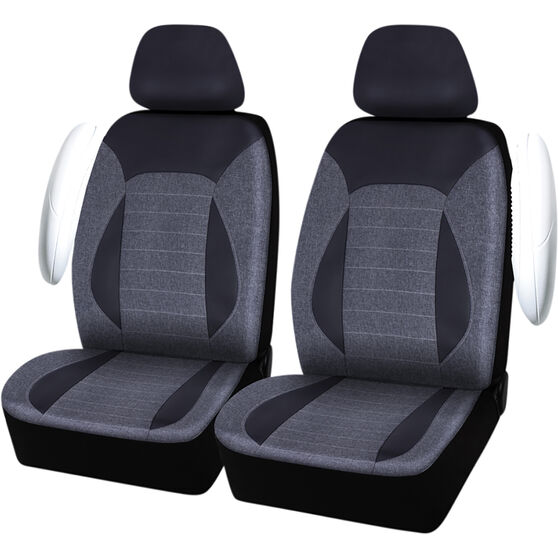 SCA PU Leather Look & Linen Look Seat Covers - Black/Grey, Adjustable Headrests, Size 30, Airbag Compatible, , scaau_hi-res