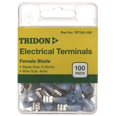 Tridon Electrical Terminals - Female Blade, Blue, 3.35mm, 100 Pack, , scaau_hi-res
