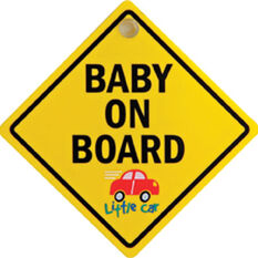 Little Car Plastic Baby on Board Sign - Yellow, , scaau_hi-res