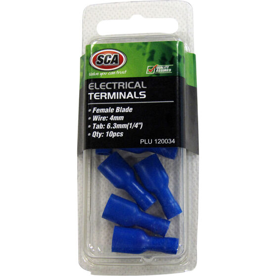 SCA Electrical Terminals - Female Blade, Blue, 6.3mm, 10 Pack, , scaau_hi-res
