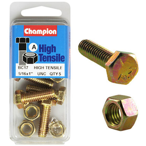 Champion High Tensile Bolts and Nuts - UNC 1inch X 5 / 16inch, , scaau_hi-res
