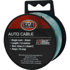Auto Cable - 10 Amp, 3mm, 7m, Green, , scaau_hi-res