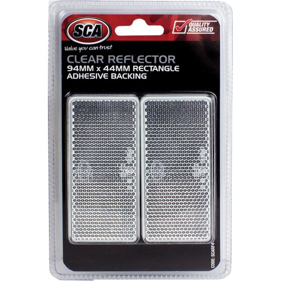 SCA Reflector - Clear, 94 x 44mm, Rectangle, 2 Pack, , scaau_hi-res