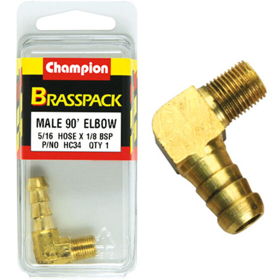 Champion Male Elbow 90° - 5/16 x 1/8 Inch, Brass, , scaau_hi-res