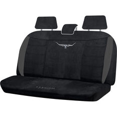 R.M.Williams Suede Velour Seat Covers - Black, Adjustable Headrests, Size 06H, Rear Seat, , scaau_hi-res