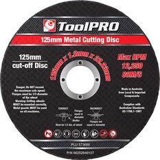 ToolPRO Metal Cut Off Disc 125mm x 1.2mm x 22.23mm 10 Pack, , scaau_hi-res