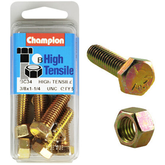 Champion High Tensile Bolts and Nuts - UNC 1-1 / 4inch X 3 / 8inch, , scaau_hi-res