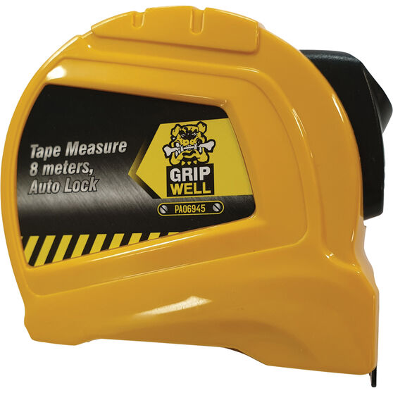 Gripwell Tape Measure with Auto Lock 8m x 25mm, , scaau_hi-res
