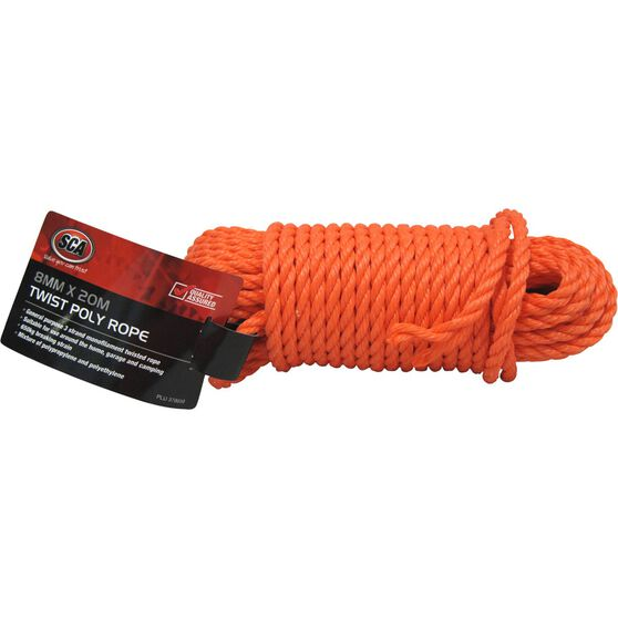 SCA 3 Strand Twist Poly Rope - 8mm X 20m, , scaau_hi-res