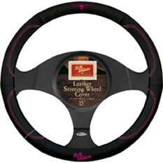 Jillaroo Steering Wheel Cover - Leather, Black & Pink, 380mm diameter, , scaau_hi-res