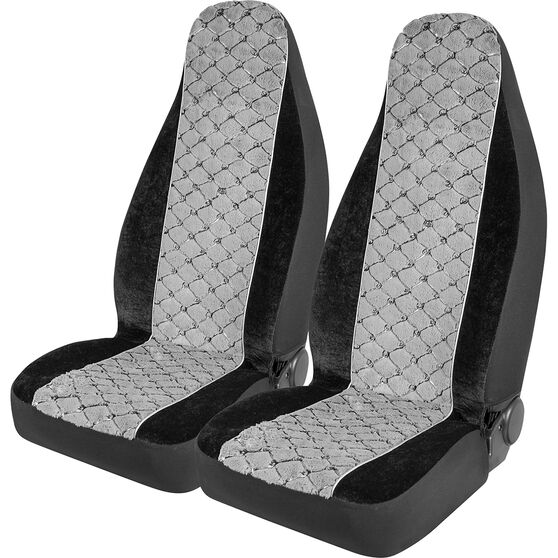 SCA Acrylic Fur Seat Covers - Grey, Built-in Headrests, Size 60, Front Pair, Airbag Compatible, , scaau_hi-res