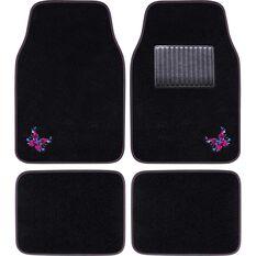 SCA Butterfly Floor Mats Carpet Black/Pink/Blue Set of 4, , scaau_hi-res