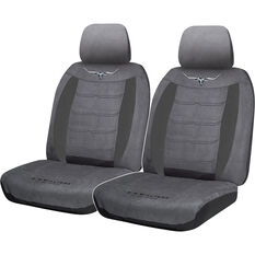 R.M.Williams Suede Velour Seat Covers - Grey, Adjustable Headrests, Size 30, Front Pair, Airbag Compatible, , scaau_hi-res