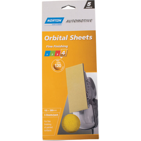Norton Orbital Sheet - 120 Grit, 5 Pack, , scaau_hi-res