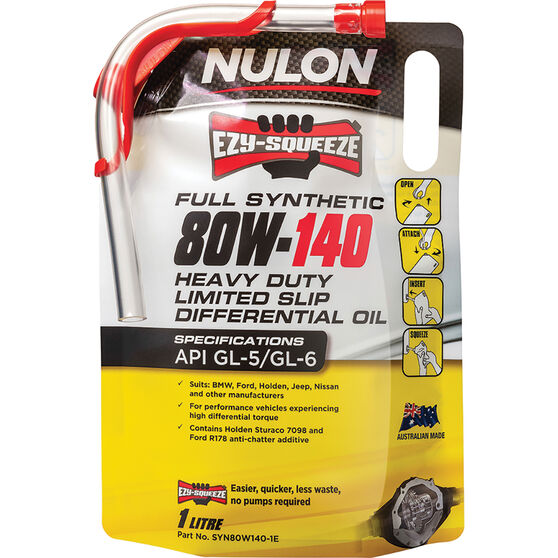 Nulon EZY-SQUEEZE Heavy Duty Limited Slip Differential Oil 80W-140 1 Litre, , scaau_hi-res