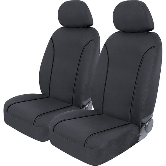SCA Canvas Seat Covers - Charcoal/Grey Adjustable Headrests Size 30 Front Pair Airbag Compatible, , scaau_hi-res