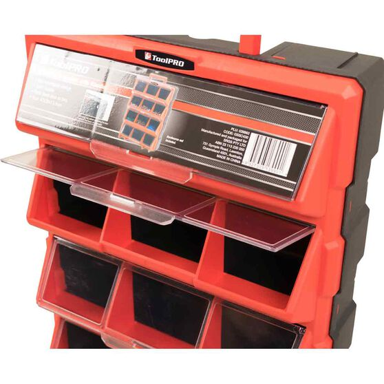ToolPRO Organiser with Handle - Red, 12 Drawer, , scaau_hi-res