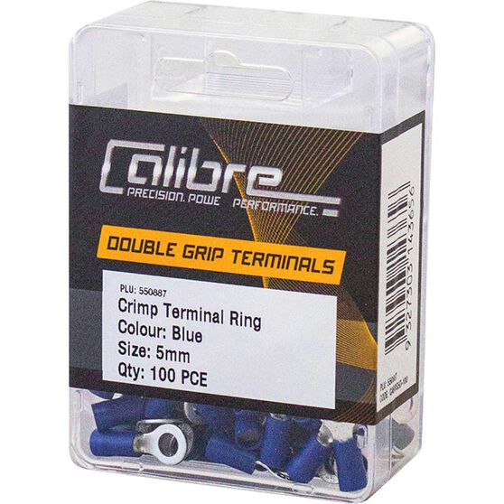 Crimp Terminal Ring Blue 5mm 100Pk, , scaau_hi-res