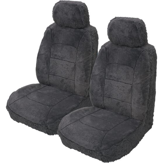 Silver Cloud Sheepskin Seat Covers - Slate, Adjustable Headrests, Size 30, Front Pair, Airbag Compatible Slate, Slate, scaau_hi-res