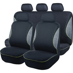 SCA Sports Piping Seat Cover Pack - Black, Grey and Green, Adjustable Headrests, Size 30 Front Pair Airbag Compatible, , scaau_hi-res