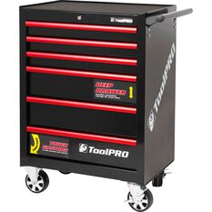 ToolPro Tool Cabinet, 6 Drawer, Roller Cabinet - Black, 27 inch, , scaau_hi-res