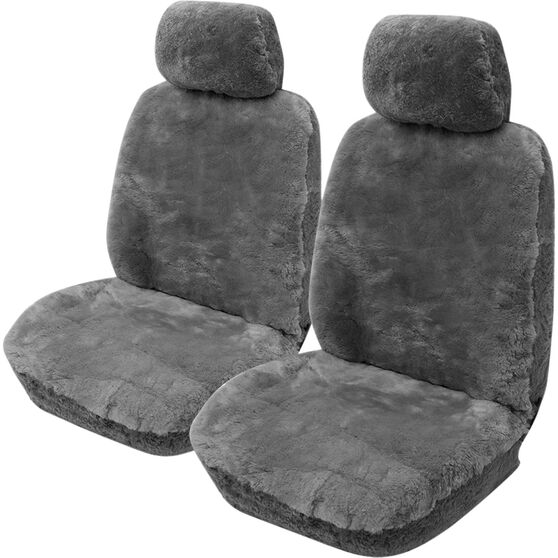 Gold Cloud Sheepskin Seat Covers - Grey Adjustable Headrests Size 30 Front Pair Airbag Compatible Grey, Grey, scaau_hi-res
