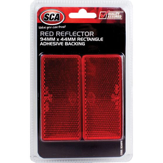 SCA Reflector - Red, 94 x 44mm, Rectangle, 2 Pack, , scaau_hi-res