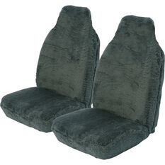 Comfort Fur Seat Covers -  Slate, Built-In Headrests, Size 60, Front Pair, Airbag Compatible, , scaau_hi-res