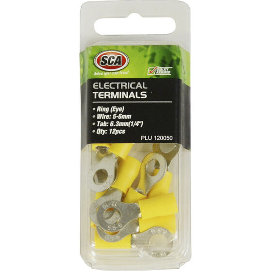 SCA Electrical Terminals - Ring (Eye), Yellow, 6.3mm, 12 Pack, , scaau_hi-res