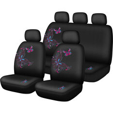 Butterfly Butterfly Seat Cover Pack - Pink and Blue, Adjustable Headrests, Size 30 and 06H, Airbag Compatible, , scaau_hi-res