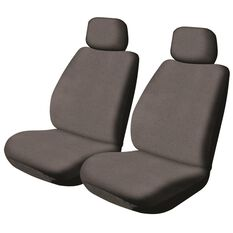 SCA Canvas Car Seat Covers - Adjustable Headrests, Charcoal, Pair, , scaau_hi-res