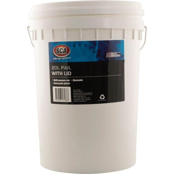 SCA Pail Bucket w /  Lid - White, 20 Litre, , scaau_hi-res