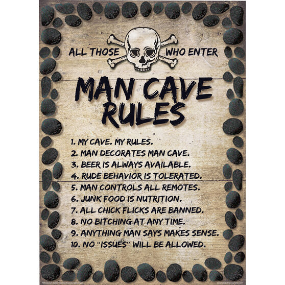 Man Cave Rules Tin Sign, , scaau_hi-res