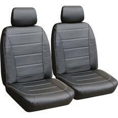 Leather Look Seat Cover - Black & White, Adjustable Headrests, , scaau_hi-res