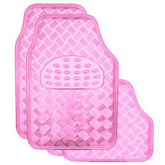 SCA Checkerplate Car Floor Mats - PVC, Pink, Set of 4, , scaau_hi-res
