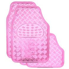 SCA Checkerplate Car Floor Mats - PVC, Pink, Set of 4, , scaau_hi-res