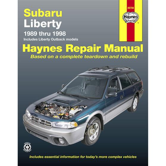 Haynes Car Manual For Subaru Liberty 1989-1998 - 89706, , scaau_hi-res