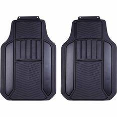 Carbon Fibre Car Floor Mats - Rubber, Black & Charcoal, Front Pair, Universal Fit, , scaau_hi-res