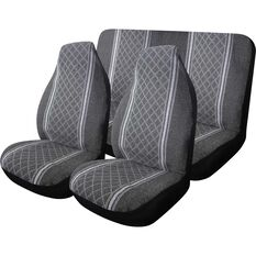 Escort Seat Cover Pack - Grey, Built-in Headrests, Size 60 & 06, Front Pair & Rear, , scaau_hi-res