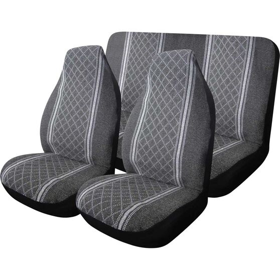 Escort Seat Cover Pack - Grey, Built-in Headrests, Size 60 and 06, Front Pair and Rear, , scaau_hi-res
