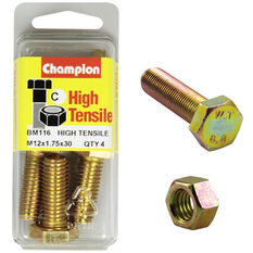 Champion High Tensile Bolts and Nuts - M12 X 30, , scaau_hi-res