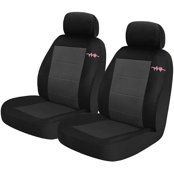 Cord Seat Covers - Grey, Adjustable Headrests, Size 30, Front Pair, Airbag Compatible, , scaau_hi-res