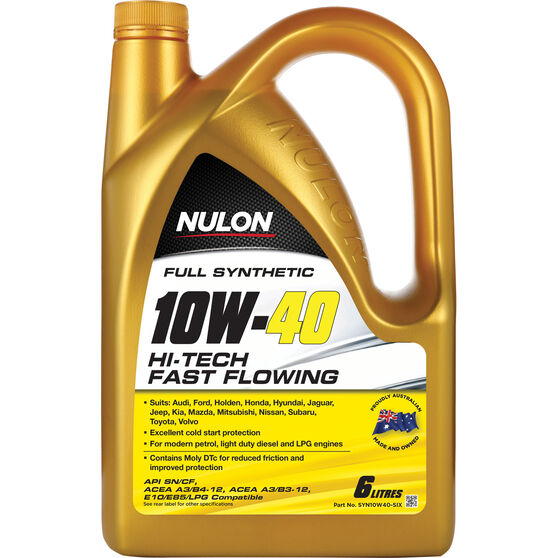 Nulon Full Synthetic Hi-Tech Fast Flowing Engine Oil - 10W-40 6 Litre, , scaau_hi-res