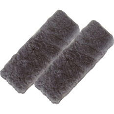 SCA Seat Belt Buddies - Sheepskin, Charcoal, Pair, , scaau_hi-res