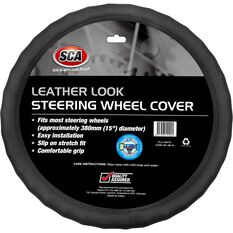 SCA Steering Wheel Cover - Leather Look, Black, 380mm diameter, , scaau_hi-res
