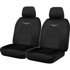 R.M.Williams Woven Seat Covers - Black Adjustable Headrests Size 30 Front Pair Airbag Compatible, , scaau_hi-res